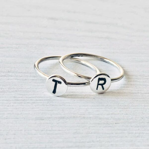 initial silver rings handmade by Africandreamland