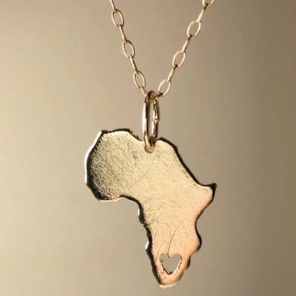 Gold africa pendant
