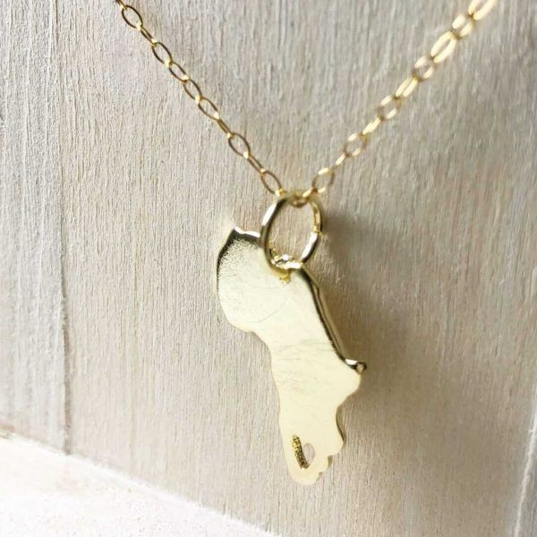 Gold Africa Map Pendant