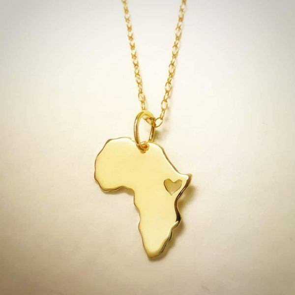 Gold Africa Necklace Map handmade by AfricanDreamland jewelry