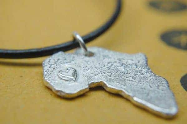 texture africa map necklace