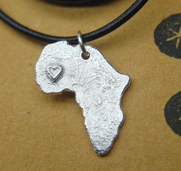 africa map pendant made by cast