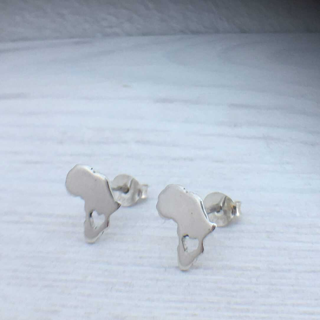 detail of africa earrings silver heart