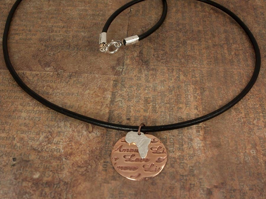 love pendant with silver africa charm
