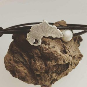 Africa Map Bracelet with Pearl