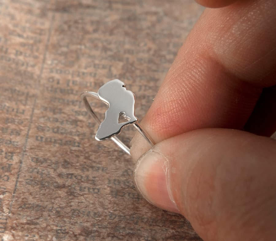 silver africa ring with heart