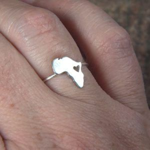 africa map ring with heart