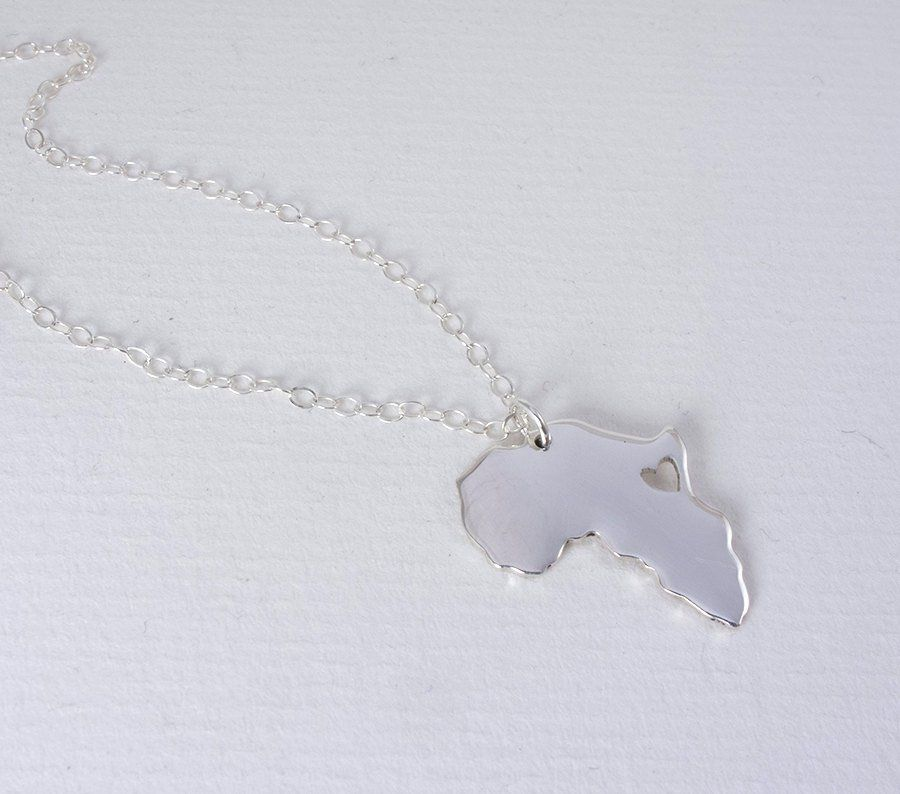silver map africa pendant