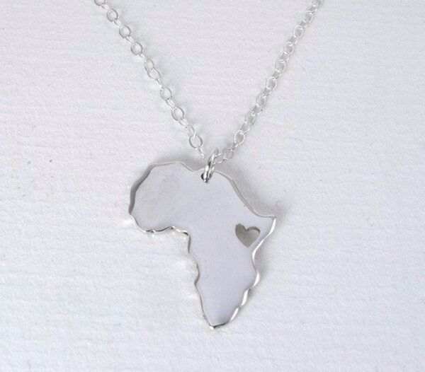 africa silver map pendant