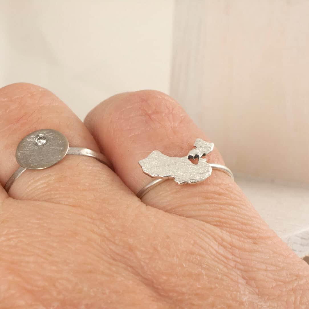 silver China Map Ring handmade
