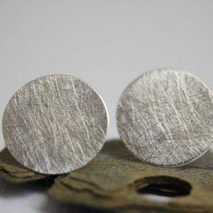 circle silver earrings handmade in barcelona