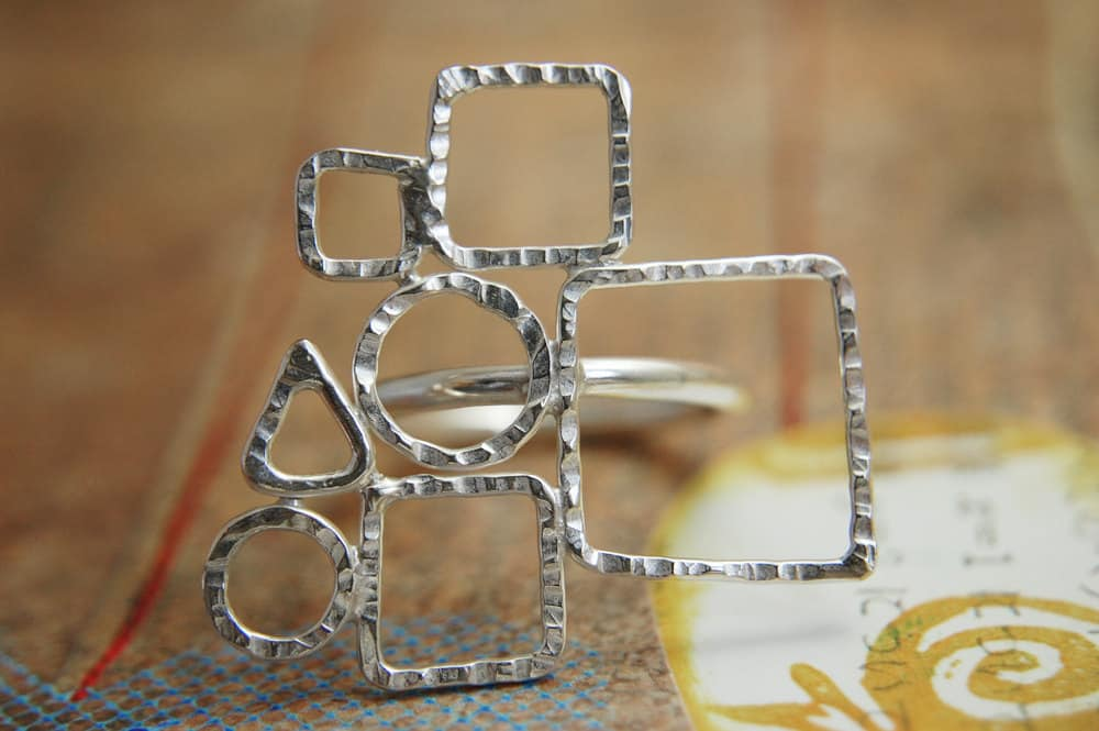 silver ring with geometric forms