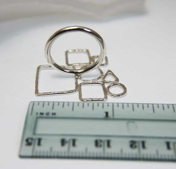 geometric ring in silver