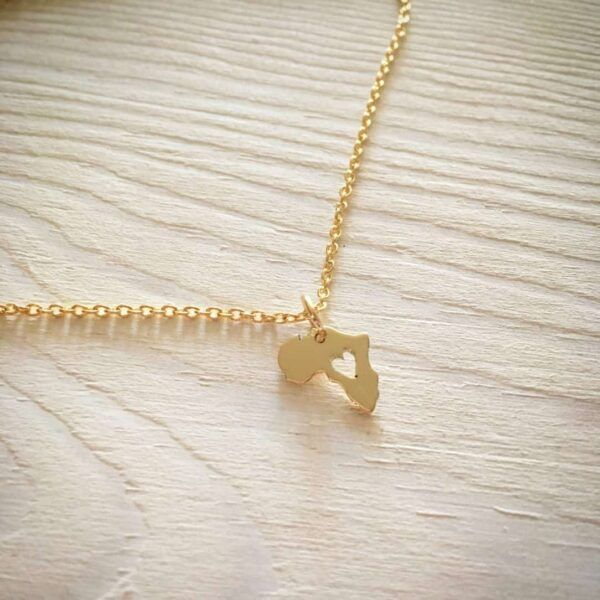 Gold Africa Map tiny Necklace