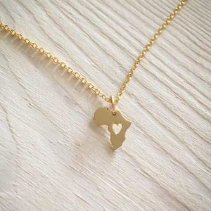 Gold Africa tiny pendant