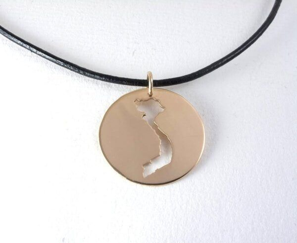 gold vietnam map necklace