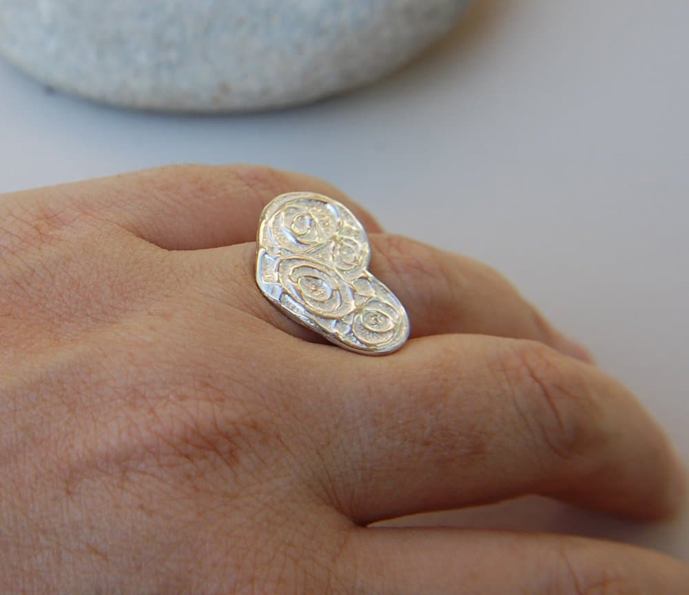 silver heart ring with texture