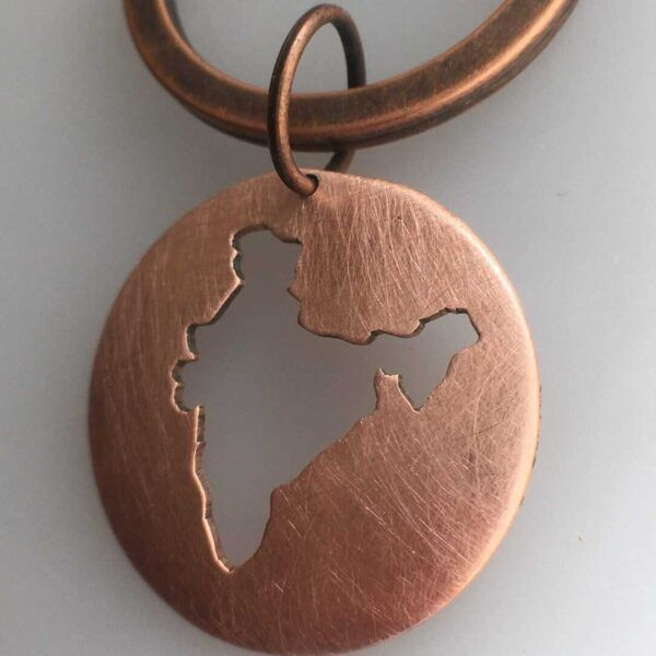 india keychain in copper map