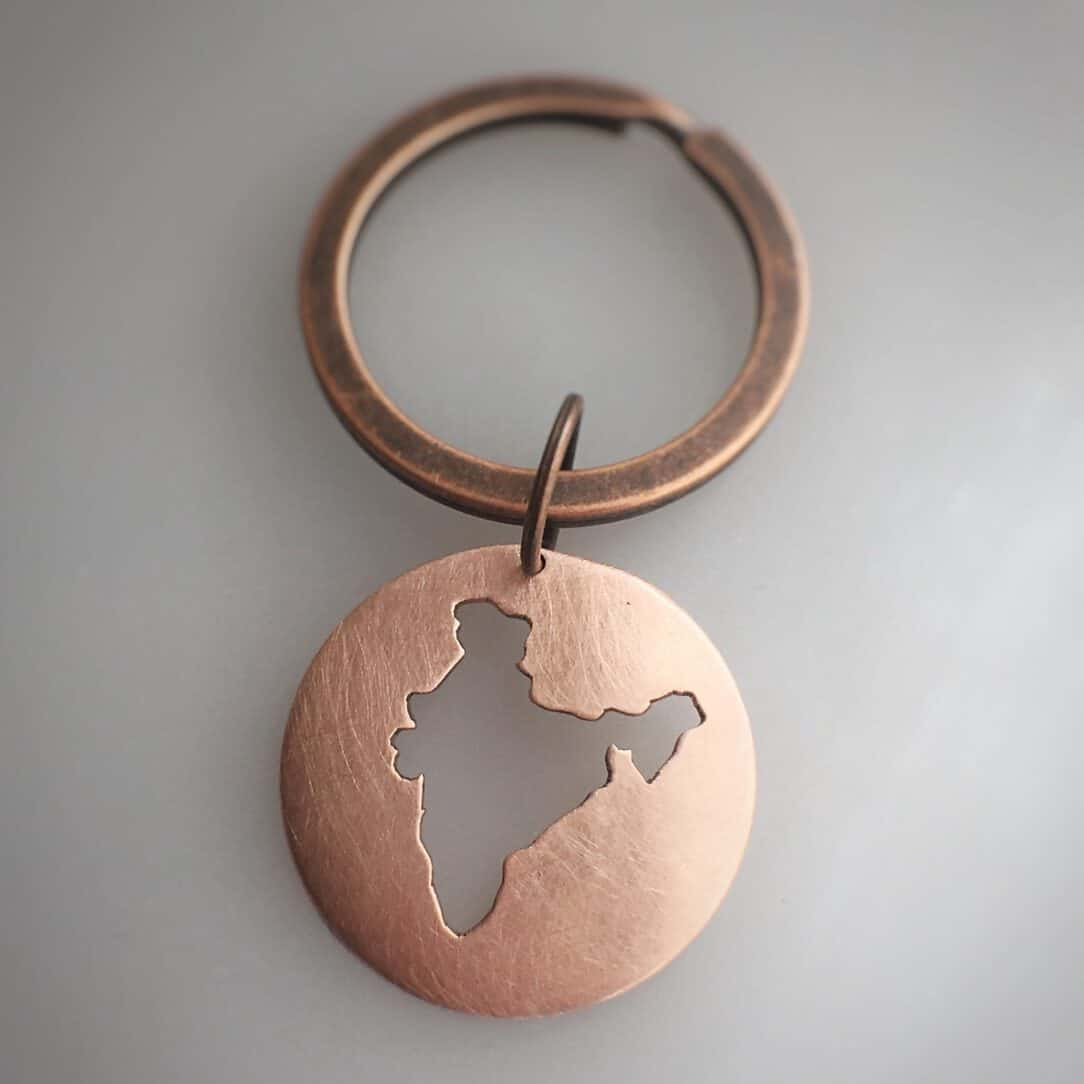 india keychain map copper