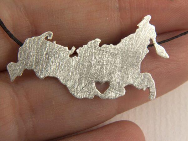 Russia Map Pendant in silver