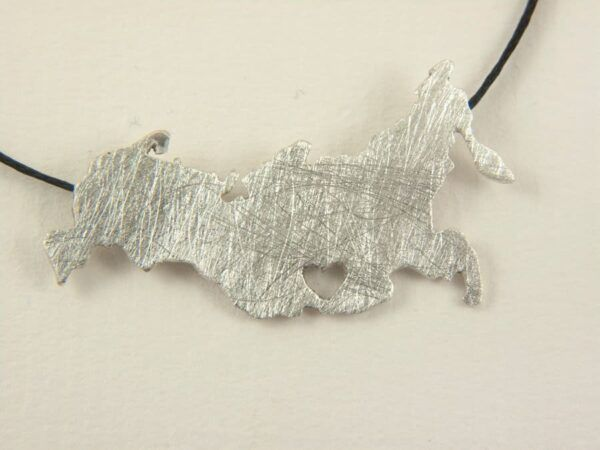 Silver Russia map necklace