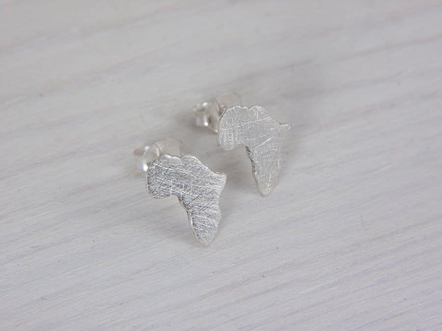 tiny silver africa map earrings