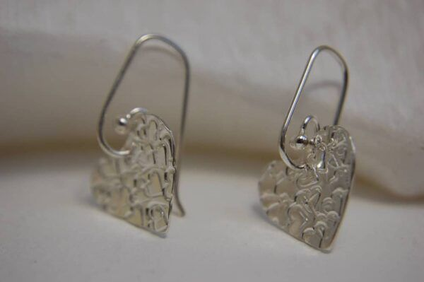 silver earrings with heart handmade