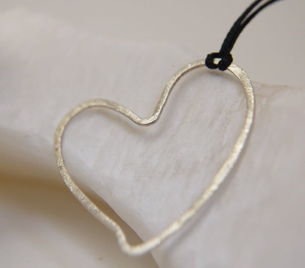 silver pendant heart made to ordee