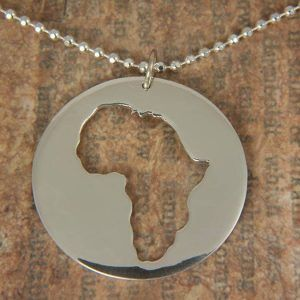Silver Round Africa Pendant