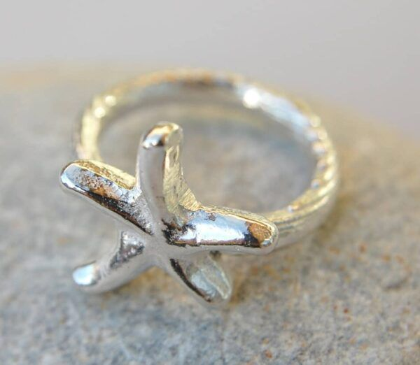 silver ring with starfish