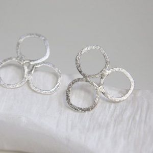 Triple circle earrings handmade in silver