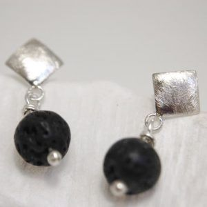 square earrings with volcanic stone