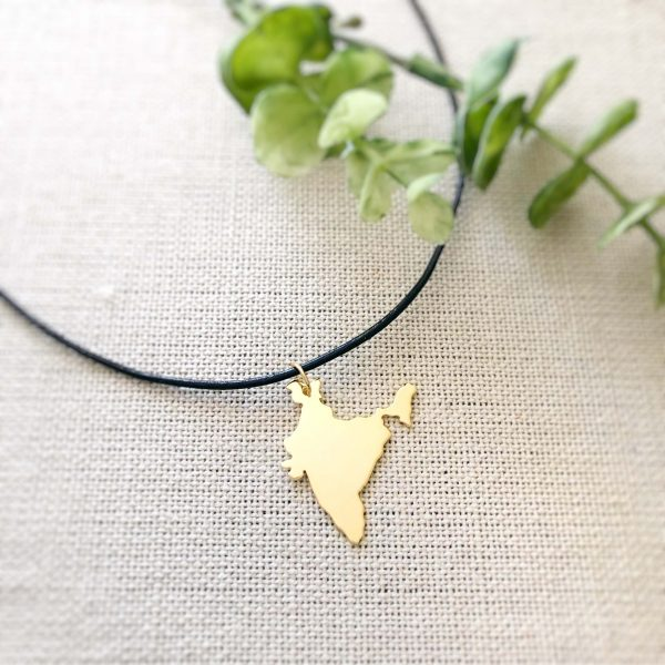 Gold india map necklace