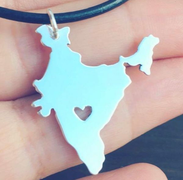 silver india map necklace