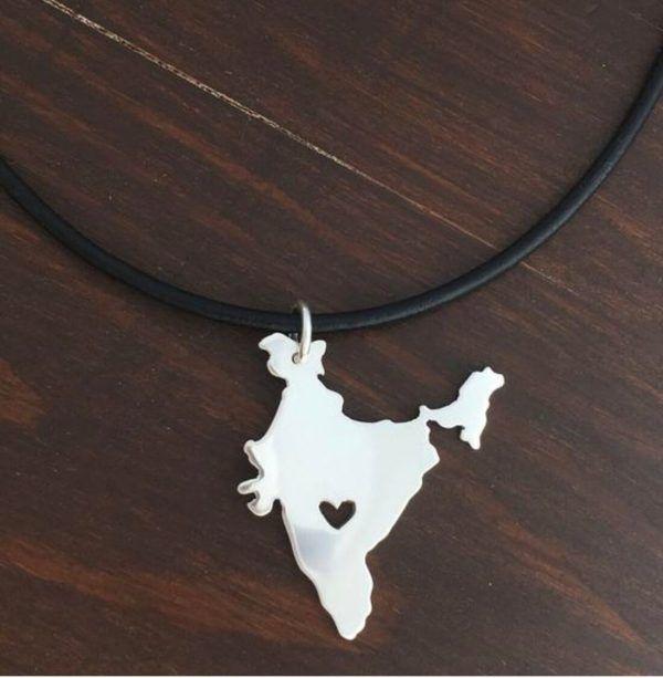 silver india map pendant