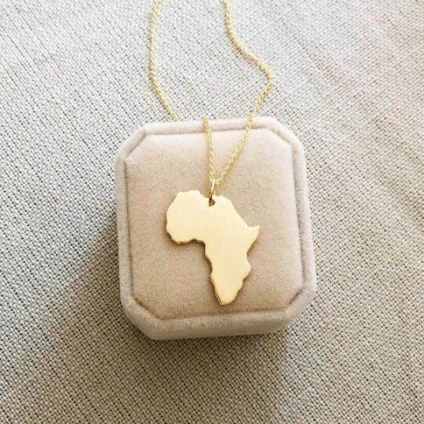 Gold Africa Pendant Big size handmade