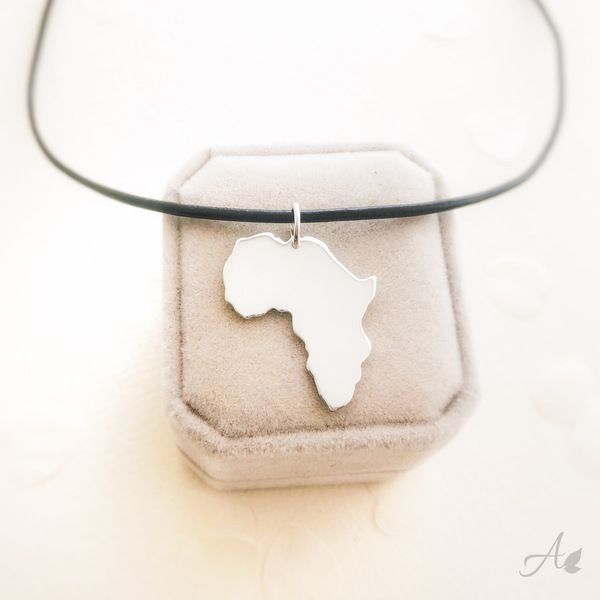 Silver africa map necklace big