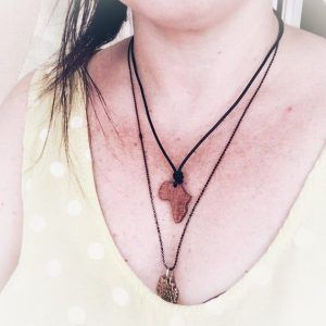 Africa Map Necklace in ebony wood