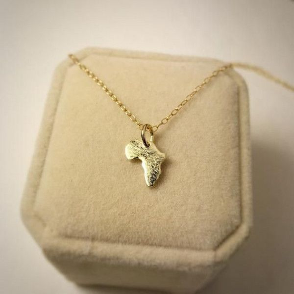 Gold Africa Map Necklace