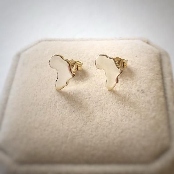 Gold Earrings Africa in argentium silver gold plated by AfricanDreamland